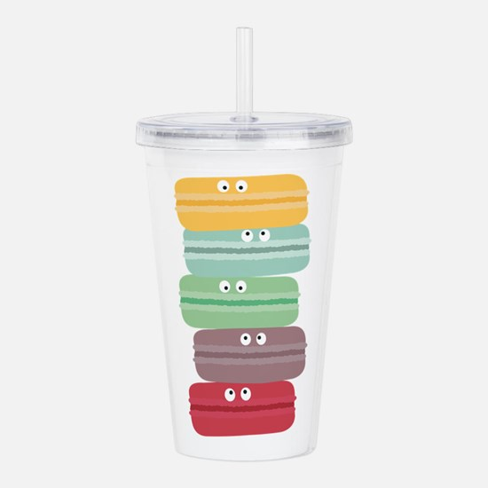 Colorful macarons with Acrylic Double-wall Tumbler