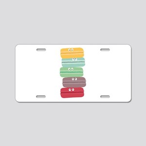 Colorful macarons with eyes Aluminum License Plate
