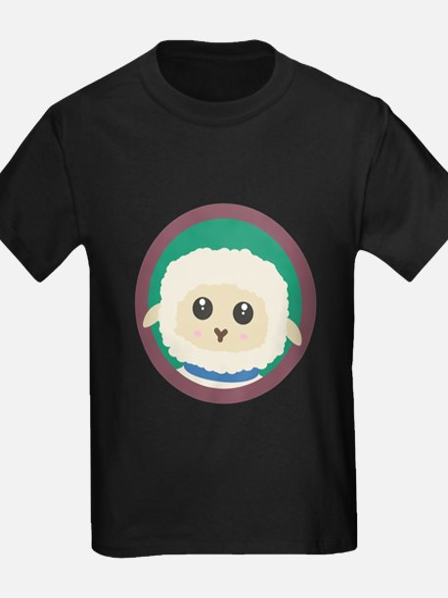 Cute Sheep with purple Circle T-Shirt