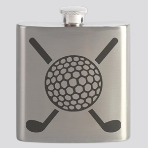 Crossed golf clubs ball Flask