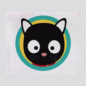 Black Cat with Green Circle Throw Blanket