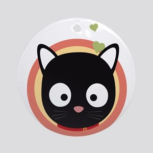 Black Cute Cat With Hearts Round Ornament