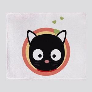Black Cute Cat With Hearts Throw Blanket