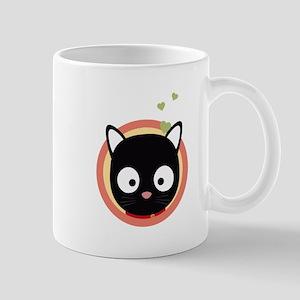 Black Cute Cat With Hearts Mugs