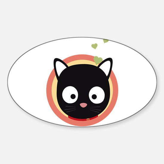 Black Cute Cat With Hearts Decal