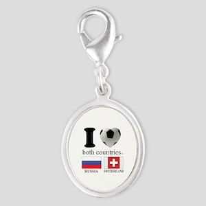 RUSSIA-SWITZERLAND Silver Oval Charm
