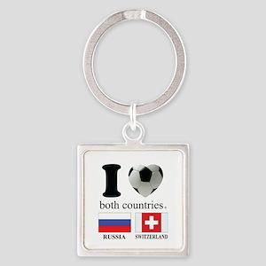 RUSSIA-SWITZERLAND Square Keychain