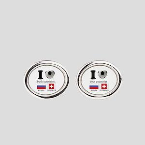 RUSSIA-SWITZERLAND Oval Cufflinks