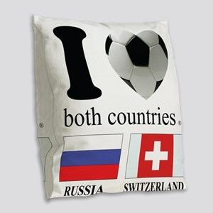 RUSSIA-SWITZERLAND Burlap Throw Pillow