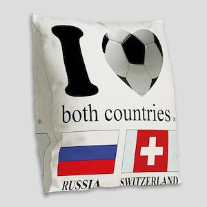 RUSSIA-SWITZERLAND Burlap Throw Pillow