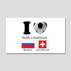 RUSSIA-SWITZERLAND Car Magnet 20 x 12