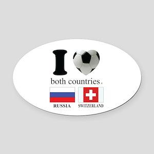 RUSSIA-SWITZERLAND Oval Car Magnet