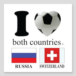 """RUSSIA-SWITZERLAND Square Car Magnet 3"""" x 3"""""""