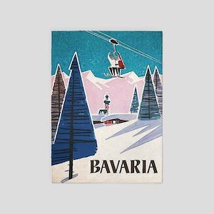 Bavaria, Germany Vintage Ski Travel 5'x7'a