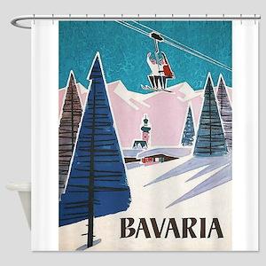Bavaria, Germany Vintage Ski Travel Poster Shower