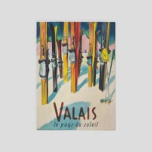 Valais, Switzerland Vintage Ski 5'x7'area