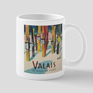 Valais, Switzerland Vintage Ski Travel Poster Mugs
