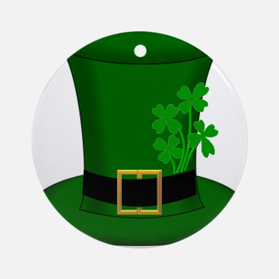 Four Leaf Clover Green Hat Round Ornament