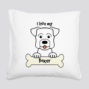 I Love My Boxer Square Canvas Pillow