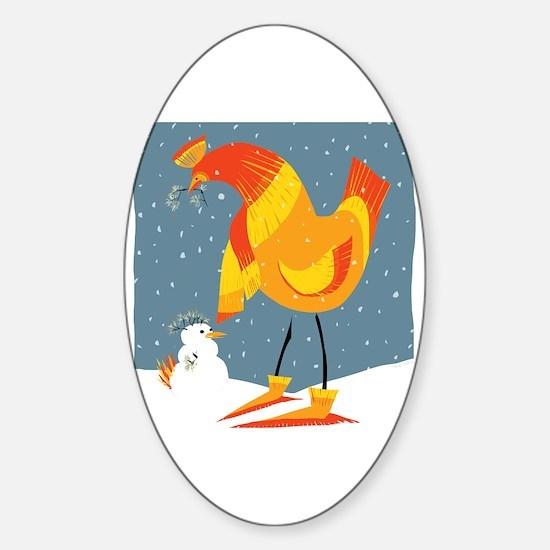 Cute Peace love chickens Sticker (Oval)