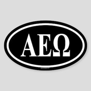 ALPHA EPSILON OMEGA Oval Sticker