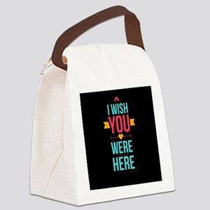 I Wish You Were Here Love Hearts Canvas Lunch Bag