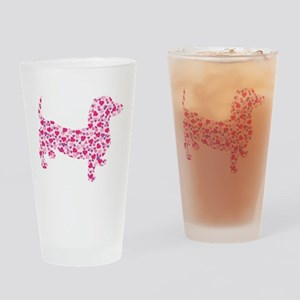 Doxie Hearts Drinking Glass