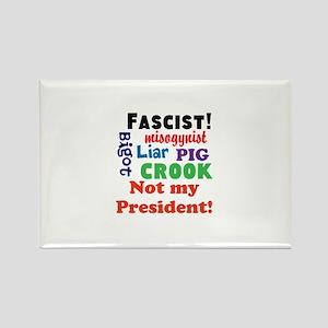 Fascist, pig, liar,bigot, not my president Magnets