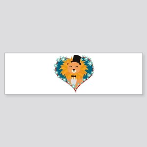 Lion with hat in flower heart Bumper Sticker