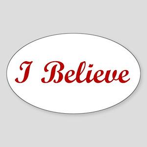 I Believe Oval Sticker