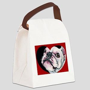 White Frenchie Valentine Canvas Lunch Bag
