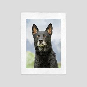 Black German Shepherd Dog 5'x7'area Rug