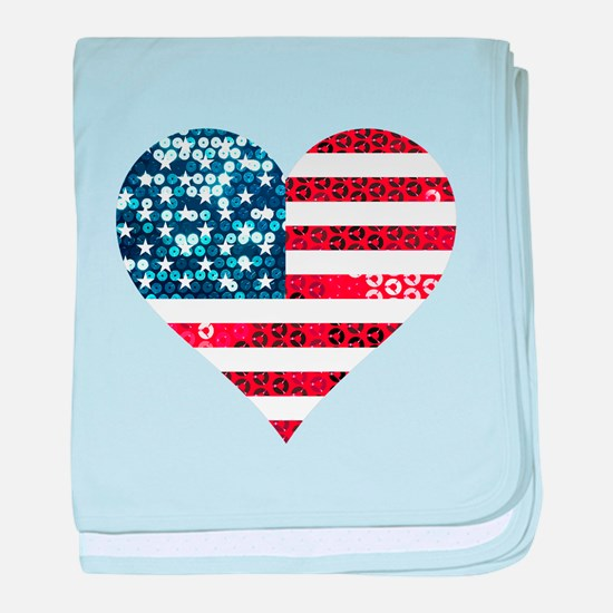 usa flag heart baby blanket