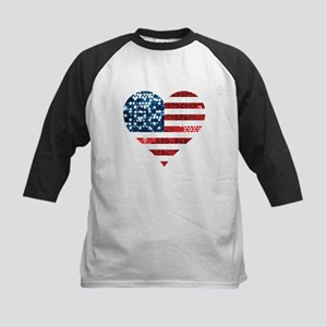 usa flag heart Baseball Jersey