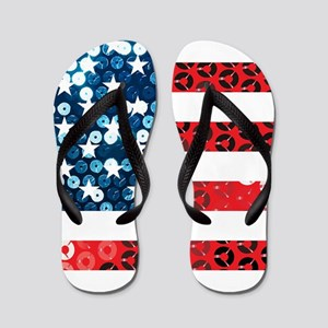 usa flag heart Flip Flops