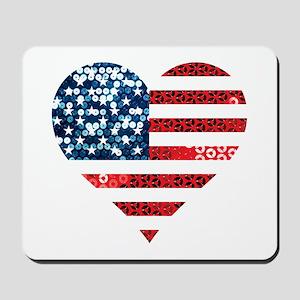 usa flag heart Mousepad