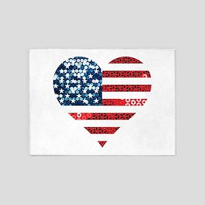 usa flag heart 5'x7'Area Rug