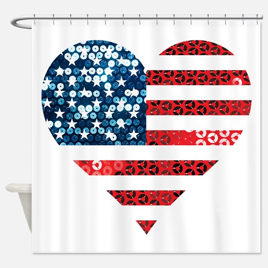 usa flag heart Shower Curtain