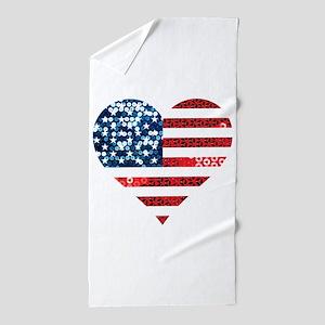usa flag heart Beach Towel