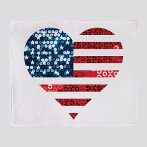 usa flag heart Throw Blanket