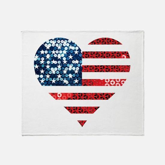usa flag heart Throw Blanket