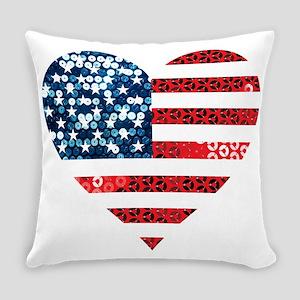 usa flag heart Everyday Pillow
