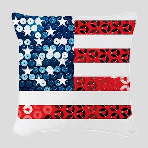 usa flag heart Woven Throw Pillow