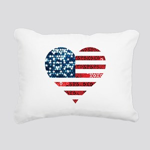 usa flag heart Rectangular Canvas Pillow