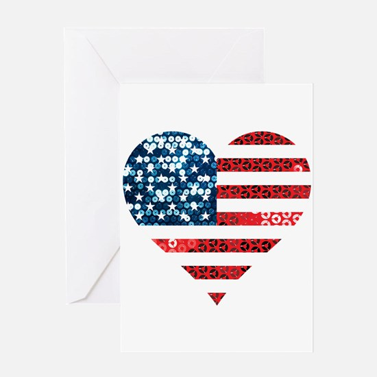 usa flag heart Greeting Cards