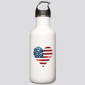 usa flag heart Stainless Water Bottle 1.0L