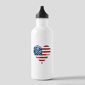 usa flag heart Stainless Water Bottle 1.0L