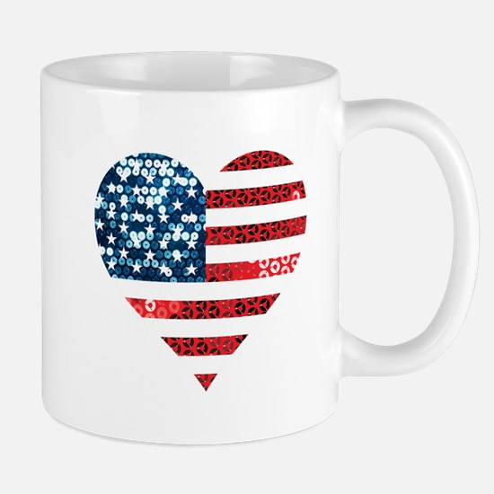 usa flag heart Mugs