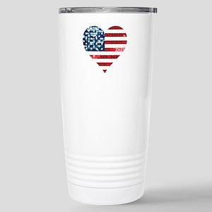 usa flag heart Stainless Steel Travel Mug