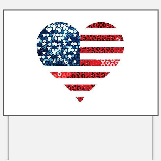 usa flag heart Yard Sign